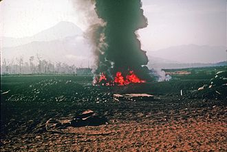 Battle of Kham Duc - The United States military lost nine aircraft during the Battle of Kham Duc, including this CH-47 Chinook that was shot down while attempting to land on the airfield