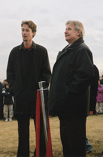 "Ralph Klein - Ralph Klein and sculptor Ryan McCourt at the unveiling of ""A Modern Outlook"" in Edmonton, Alberta."