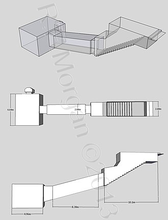 KV55 - Isometric, plan and elevation images of KV55 taken from a 3d model