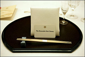 A place setting for Vice President Dick Cheney...