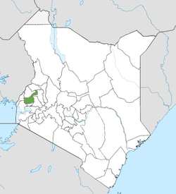 Location of Kakamega County (Green)