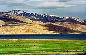 Jammu and Kashmir - Tso Moriri (lake) on the Karakoram-West Tibetan Plateau alpine steppe in Ladakh