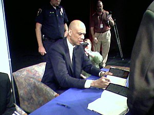 Kareem Abdul-Jabbar at a book signing.