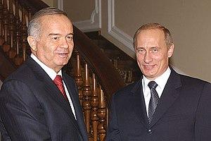 English: Uzbek President Islom Karimov and Rus...