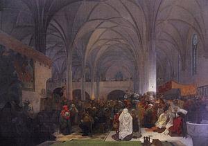 Moravian Church - Jan Hus Preaching at Bethlehem Chapel in Prague by Alfons Mucha (1916)