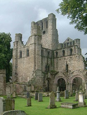 Kelso Abbey - South face of the surviving West tower of Kelso Abbey (viewed from the south east).