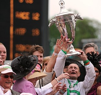 Kentucky Oaks Trophy - Jockey Calvin Borel holding up the perpetual Kentucky Oaks Trophy