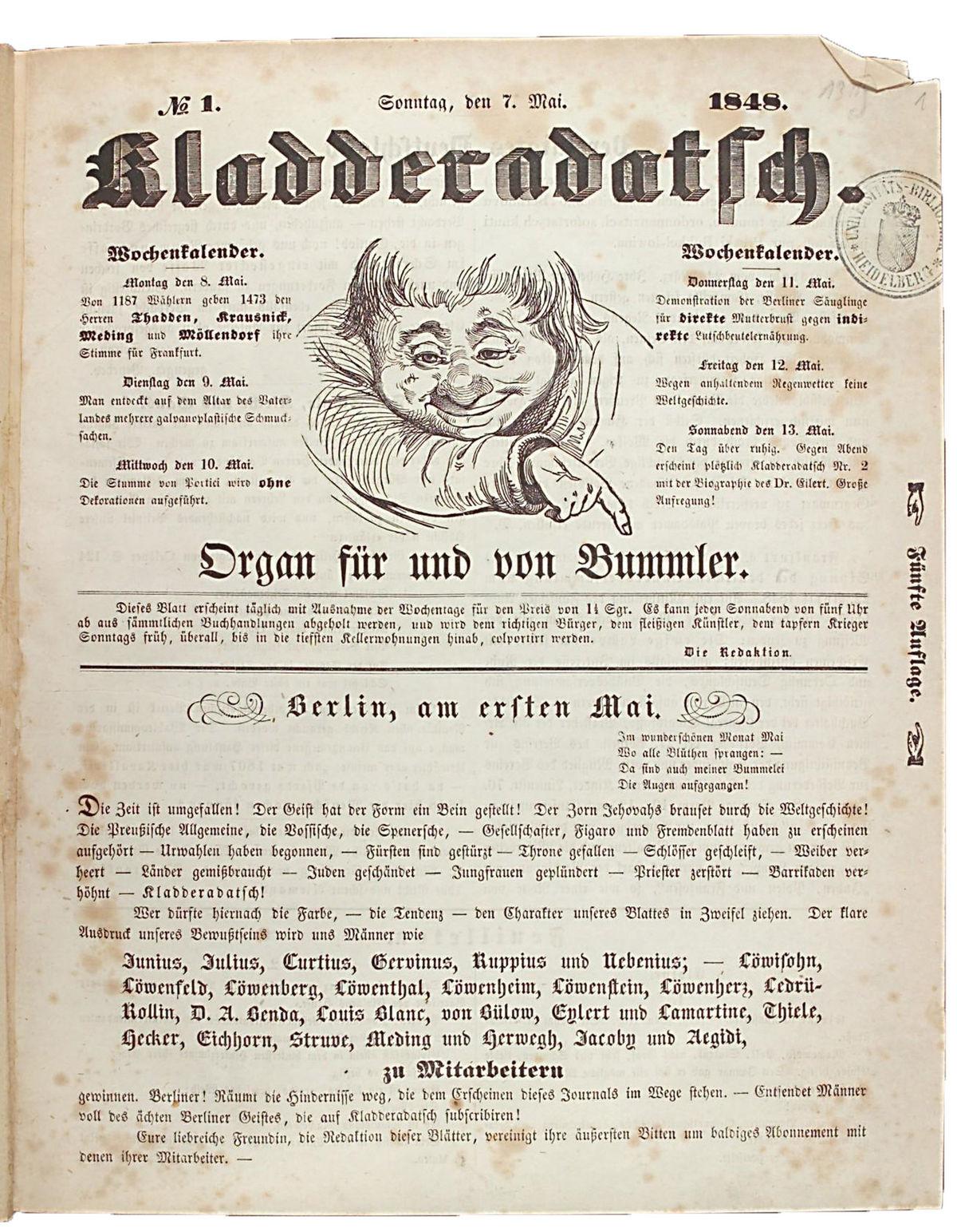 Die erste Ausgabe des Kladderadatsch (Mai 1848)