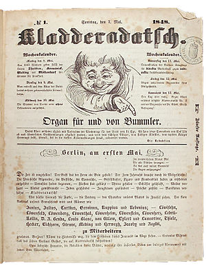 Kladderadatsch - The magazine's front cover on 9 July 1848, with the grinning boy that became its trademark.