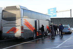 Federal Police (Germany) - Stop and search on a motorway: BPOL inspecting a bus at a rest stop off Bundesautobahn 9.