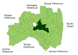 Location of Kōriyama in Fukushima Prefecture