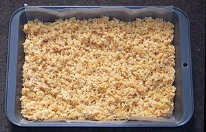 English: Rice Krispie treats in a pan lined wi...