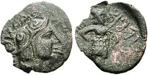 Kujula Kadphises - Kujula Kadphises coin. Obv Helmeted soldier head right. Rev Warrior standing right, holding shield and spear.