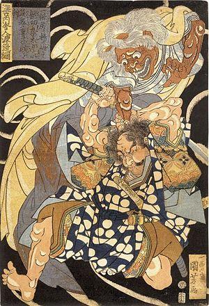 Watanabe no Tsuna - Watanabe no Tsuna fighting the demon Ibaraki, woodblock print by Utagawa Kuniyoshi