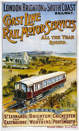 London, Brighton and South Coast Railway - 1906 poster advertising rail motor services