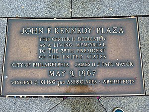 LOVE Park - The park is dedicated to the late United States president John F. Kennedy. A plaque at the park describes the dedication.