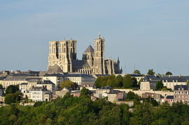 Laon and its cathedral from the southwest