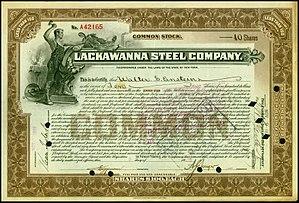 Lackawanna Steel Company - Share of the Lackawanna Steel Company, issued 8. November 1922