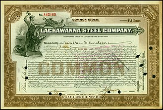 Lackawanna Steel Company - Share of the Lackawanna Steel Company, issued 8. November 1922