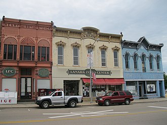 Lanark, Illinois - Historic commercial buildings in Lanark's business district