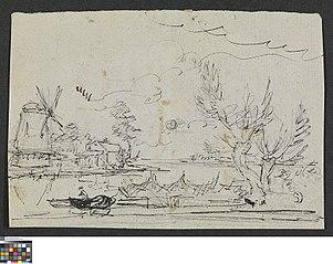 Landschap met windmolen en vissersboot