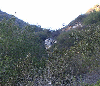 Laguna Canyon - The rock ledge that Laurel Canyon Creek spills over during heavy rainfall, viewed from lower on the Laurel Canyon Trail.