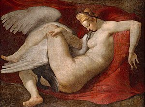 Nemesis (mythology) - Leda and the Swan, copy of Michelangelo's lost painting.
