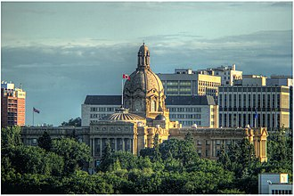 Downtown Edmonton - The Alberta Legislature Building is a prominent landmark in Government Centre.