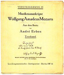 Leo Liepmannssohn Versteigerung Musikmanuskripte Mozart 1929 (Quelle: Wikimedia)