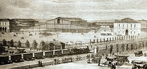 Grande halle de la Villette - The  Grande halle de la Villette, 1867, pictured between the other two slaughterhouses.