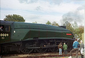 LNER Class A4 4488 Union of South Africa - Osprey (Union of South Africa) at the 1990 Leuchars Air Show.