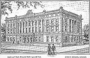 Justus F. Krumbein - A 1905 engraving of Lewis and Clark Memorial Hall, designed by Justus F. Krumbein