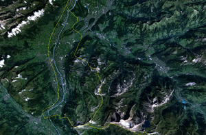 Geography of Liechtenstein - Satellite image of Liechtenstein area, with the border shown in yellow
