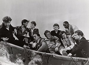 Hume Cronyn - L-R: Walter Slezak, John Hodiak, Tallulah Bankhead, Henry Hull, William Bendix, Heather Angel, Mary Anderson, Canada Lee, and Hume Cronyn in Alfred Hitchcock's Lifeboat (1944)