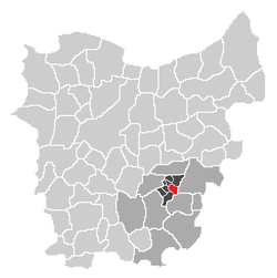 Localisation of Mere in the community of Erpe-Mere in the arrondissement of Aalst in the province of East-Flanders.