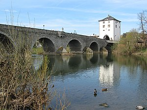 Bridge tower - The Old Lahn Bridge in Limburg an der Lahn with its surviving bridge tower