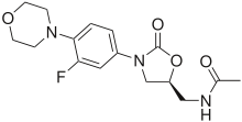 Skeletal formula of linezolid