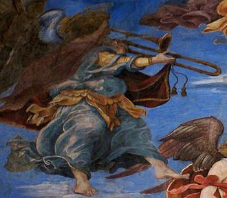 Sackbut - Sackbut in a fresco by Filippino Lippi in Rome, The Assumption of the Virgin, dating from 1488–93. This is the earliest clear evidence of a double-slide instrument.