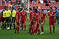 Liverpool players before match vs Rabotnicki.jpg