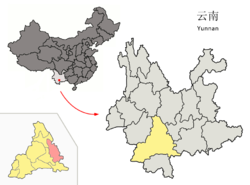 Location of Mojiang County (pink) and Pu'er Prefecture (yellow) within Yunnan province of China