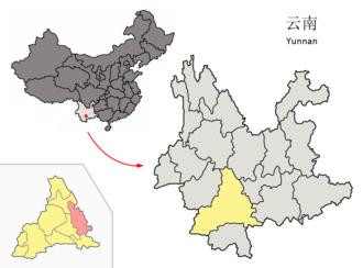Mojiang Hani Autonomous County - Image: Location of Mojiang within Yunnan (China)