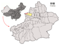 Location of Wenquan within Xinjiang (China).png