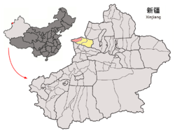 Wenquan County (red) within Bortala Prefecture (yellow) and Xinjiang