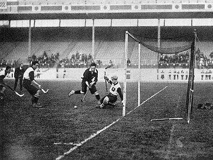 A game of hockey being played between Germany and Scotland at the 1908 London Olympics London 1908 Hockey.jpg