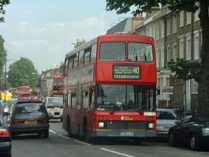 London Central - Northern Counties Palatine bodied Volvo Olympian on route 40 in July 2000