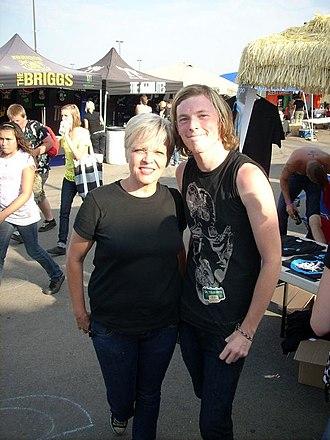 Lorna Doom - Lorna Doom with a fan at Warped Tour 2008.