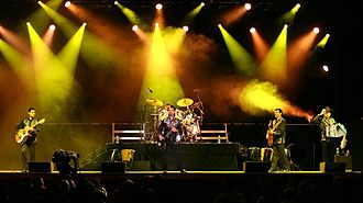 Norteño (music) - Los Tigres Del Norte performing at a Californian casino in 2006; it is one of the most popular Norteño bands.