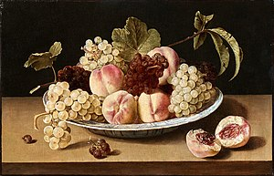 Still Life with Peaches and Grapes in a China Bowl