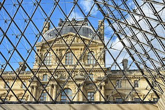 Louvre Pyramid - Inside the Pyramid: the view of the Louvre Museum in Paris from the underground lobby of the pyramid.