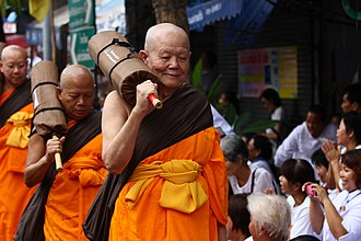 Luang Por Dattajivo - Luang Por Dattajivo walking in a procession, during the city pligrimages in the early 2010s